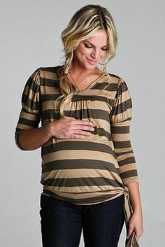 Our Side Tie top is loose fitting, but flattering for every stage of your pregnancy... even after you deliver! #maternity #stripes #tie