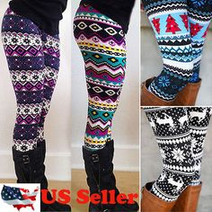 d31e066142700 Women s Fleece Lined Thick Nordic Leggings Winter Warm Insulated Christmas  Pants