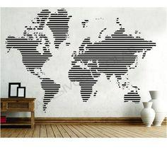Adesivo Decorativo Mapa Mundi em Linhas - Adesivos Dicolar