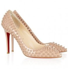 $215  CHRISTIAN LOUBOUTIN Pigalle 100 spiked patent-leather pumps