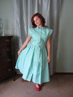 Vintage 1970's aqua shirt dress new with by ElizabethJeanVintage, $45.00