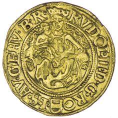 Rudolf II. 1576 - 1612 Dukat 1580 KB Gold Av: RVDOL•II•D•G•RO•-•I•S•AV• GE•HV• B•R• gekrönte Madonna auf der Mondsichel sitzend, das Kind in ihrer Rechten, unten in der Umschrift österreichischer Bindenschild