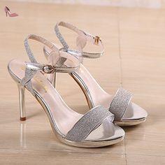Chaussure à talons hauts Chaussure de mode imperméable à l'eau avec sandales féminines sur une nouvelle boucle de bout de mot, argentée, trente-cinq - Chaussures rugai ue (*Partner-Link)