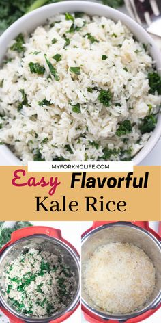 Take a step up from boring plain rice by making this flavorful kale rice which can be cooked on the stovetop or in the instant pot. This is a great side dish for a healthy dinner. Rice Cooker Recipes, Pressure Cooker Recipes, One Pot Meals, Easy Meals, Risotto, Black Food, Sunday Suppers, Instant Pot Pressure Cooker