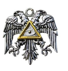 The eagle is an heraldic bird of the first order symbolising courage and determination. The double-headed eagle signifies a man of action, one of lofty spirit. Adopted by a Master Templar in mediæval times and combined with the mythological all-seeing Eye of Providence, its wearer sees all and has an authority over re-birth and immortality. This design, both awesome and mysterious, may bring its wearer righteous Power and Glory.