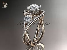 "Unique 14kt rose gold diamond engagement ring, wedding ring with a ""Forever One"" Moissanite center stone ADLR320 - Wedding and engagement rings (*Amazon Partner-Link)"