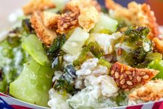 NYT Cooking: Smashed Cucumbers With Lime Yogurt, Spicy Honey and Breadstick Croutons
