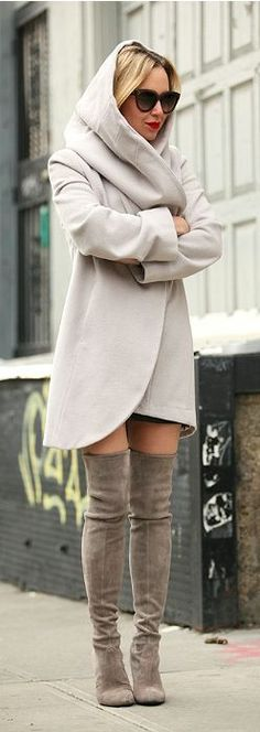 Fabulous fall chic coat and grey over the knee boo...