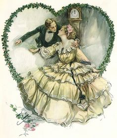 Shop Vintage Love, Romance, Romantic, Save the Date Announcement Postcard created by YesterdayCafe. Personalize it with photos & text or purchase as is! Victorian Valentines, Victorian Christmas, Vintage Valentines, Valentine Party, Vintage Couples, Vintage Love, Vintage Dress, Vintage Pictures, Vintage Images