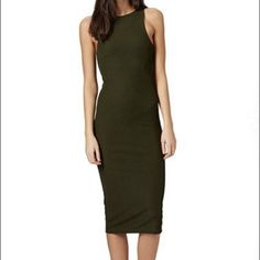 Top Shop Ribbed Tank Dress Dark Green 6 Like New! Retails for $48 at Nordstrom/Top Shop. I got one size too small. Super tight on me. Great maxi for casual attire or can be dressed up! Topshop Dresses