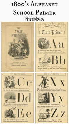 Free Printable Antique Alphabet School Book Primer Pages via Knick of Time @ knickoftimeinteriors.blogspot.com