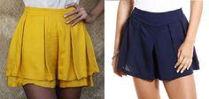 Short saia com pregas e sobreposição – DIY – molde, corte e costura – Marlene Mukai