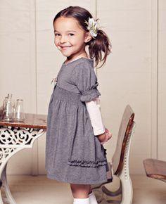 Heather gray knit dress with ruffles
