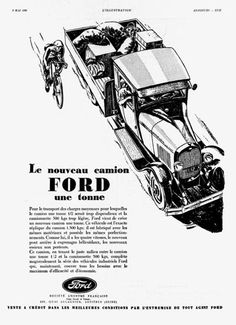 1930 Ford 1 Ton Truck original vintage French advertisement. Very rare debut ad for this new model truck!