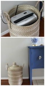 The best paper clutter solution Storage Basket with Lid Perfect for Hiding shredder and paper clutter