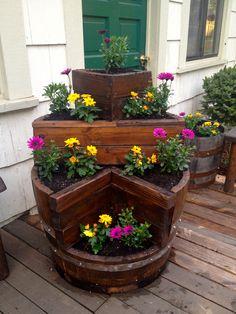 Wine Barrel Planter, multi tier planter