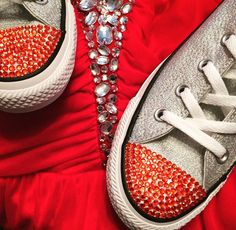 Red dress from Macy's and converse from journeys used red crystals to do toes Follow more on Instagram@firewifemay Bling Converse, Converse Style, Formal Wear, To My Daughter, Vans, Crystals, Sneakers, Red, How To Wear