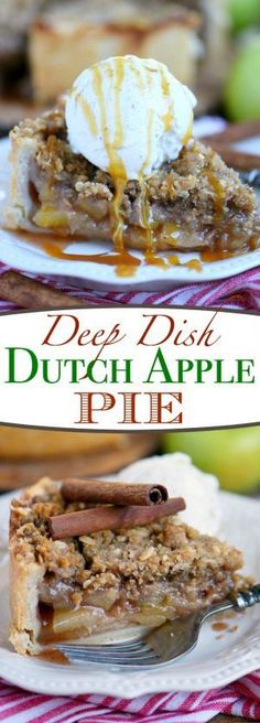 Deep Dish Dutch Apple Pie is loaded with a spiced apple filling and topped with a crunchy, sweet, pecan streusel topping. Best served with a big scoop of vanilla ice cream and caramel sauce. This is THE dessert for the fall season!   Mom On Timeout