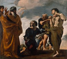 """""""Moses and the Messengers from Canaan,"""" Giovanni Lanfranco, 1621 - 1624. Oil on canvas. J. Paul Getty Museum, Los Angeles, California   In the Old Testament story (Numbers 13:1-27), Moses sent spies into Canaan to determine whether the land bore fruit. Lanfranco depicted these spies as they returned, laden with grapes, pomegranates, and figs as signs of the plenty of the Promised Land. Laying the ample harvest at Moses' feet, they reported, """"surely it floweth with milk and honey."""""""