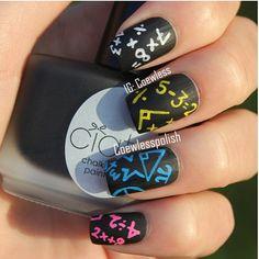Math Nails - Black matte base coat and colored shiny equations