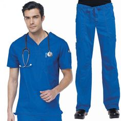White Koi Men's Set in Galaxy consist of Set Consists of Koi Jason Top with a Henley neckline, plenty of pockets: 2 side, 1 sleeve and 1 chest. And Koi James Trousers that has a zip-fly drawstring close, an elasticated waistband, deep pockets and adjustable hem. £54.99 #dentalscrub #scrubset #malescrub #uniforms #medicaluniform #scrubs #blueuniform