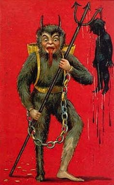 Morbidly showing off the body of a child he drowned. | 21 Vintage Postcards Of Krampus That Will Haunt Your Dreams