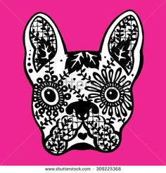 french bulldog sugar skull, frenchie cute dog day of the dead, pen drawing illustration design
