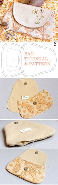 Cosmetic Bag / Pouch Country. DIY Photo Tutorial and Template Pattern. www.handmadiya.co...