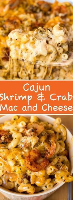 This Cajun Shrimp and Crab Mac and Cheese is super creamy, cheesy and decadent. This delicious spin to the classic dish will surely be your new favourite! pasta Cajun Shrimp and Crab Mac and Cheese Seafood Mac And Cheese, Macaroni Cheese Recipes, Pasta Cheese, Mac Cheese, Shrimp Mac And Cheese Recipe, Cheese Dishes, Mac And Cheese Lasagna Recipe, Awesome Mac And Cheese Recipe, Seafood Casserole Recipes