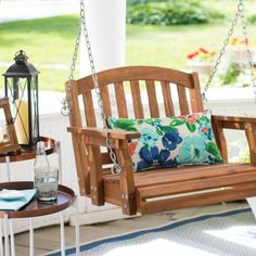 Settle into the Coral Coast Amherst Single Seat Wood Porch Swing - Natural and relax as you enjoy the great outdoors. Affordable Outdoor Furniture, Single Swing, Outdoor Play, Outdoor Decor, Side Door, Back Patio, Acacia Wood, Home Renovation, The Great Outdoors