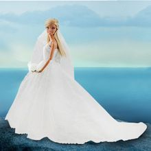 LeadingStar Wedding Dress for Barbie Doll Princess Evening Party Clothes Wears Long Dress Outfit Set for Barbie Doll with Veil(China (Mainland))
