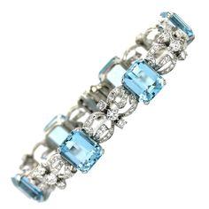 Aquamarine Diamond Platinum Bracelet | From a unique collection of vintage link bracelets at https://www.1stdibs.com/jewelry/bracelets/link-bracelets/