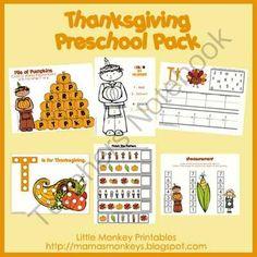 Thanksgiving Preschool Pack (free; from Little Monkey Printables via Teachers Notebook)