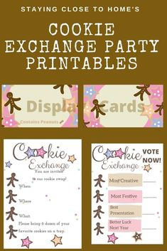 Host the best Cookie exchange with our free printables. Learn tips on how to host the best cookie exchange party and use our free pink and brown themed cookie party printables. Holiday Party Games, Holiday Parties, Holiday Fun, Drop Cookies, Fun Cookies, Party Printables, Free Printables, Diy Crafts For Adults, Kids Crafts