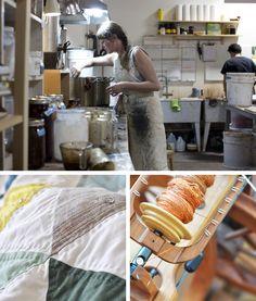 Kristine Vejar dye studio, quilt, spinning wheel A Verb for Keeping Warm