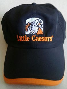 Little Caesars Logo Embroidered Vented Cap Strapback Orange Black Employee  Hat f26633d77