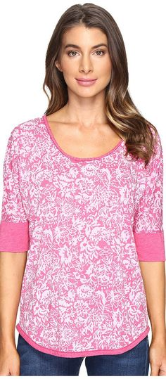 Mod-o-doc Wildflower Burnout Jersey Scoop Neck Pullover (Berry Red) Women's T Shirt - Mod-o-doc, Wildflower Burnout Jersey Scoop Neck Pullover, 417-19633, Apparel Top Shirt, T Shirt, Top, Apparel, Clothes Clothing, Gift, - Fashion Ideas To Inspire