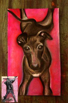 Italian Greyhound Drawing. IG portrait, pastel