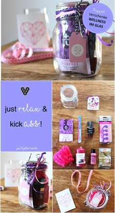 DIY gift idea: Wellness in the glass - Gifts for everyone: Wellness in the glass. A DIY gift to relax. For more oohms and less poohs. Diy Presents, Diy Gifts, Birthday Gifts, Happy Birthday, Diy Cadeau, Christmas Gifts, Xmas, Ideias Diy, Diy And Crafts