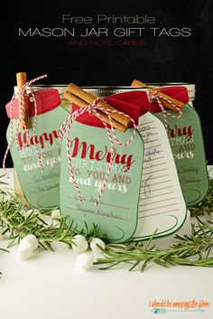 """Free Printable Mason Jar Gift tags are perfect for every kind of package under your tree!   Includes two sizes and both """"Merry Christmas"""" and """"Happy Holidays"""", as well as a lined note card.   Instant Downloads"""