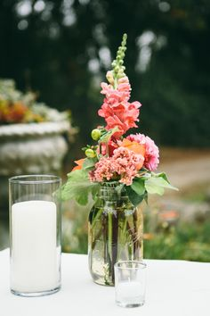 I like the mason jar and also the color of the flowers.