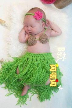 crochet newborn photography prop outfits crochet baby set baby hula girl headdress,coconut bra,grass skirt handmade US $17.49: