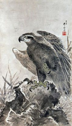 Eagles view of the Iwakami by Kawanabe Kyosai