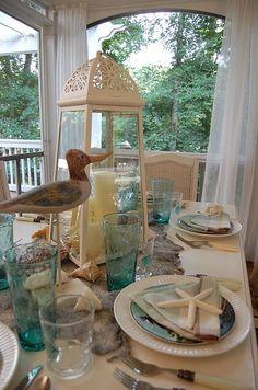 Seashells, shorebirds & starfish - cute tablescape!