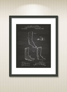 This reproduction was digitally restored and in some cases altered to remove defects or unwanted artifacts present in the original #patent document.  Buy more and save! Buy ... #patentart #art #print #gift #digital #download #instant #printable #vintage #drwing #shoes #boots