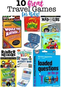 Keeping the kids entertained in the car is one of the first things that most parents worry about when planning family road trips. Here's our list of 10 great travel games for kids! Road Trip With Kids, Family Road Trips, Travel With Kids, Family Travel, Kids Travel Activities, Road Trip Activities, Road Trip Games, Card Games For Kids, Outdoor Games For Kids