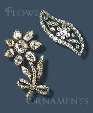 THE ROMANOVS JEWELRY -- Empress Dowager Marie Feodorovna also owned two flower dress ornament setted of diamonds from the imperial vault, they were placed on the kokoshnik (and dress?). These flowers were made for Catherine the Great by the Court jeweller Louis David Duval, c 1760-70. Were sold by Christie's
