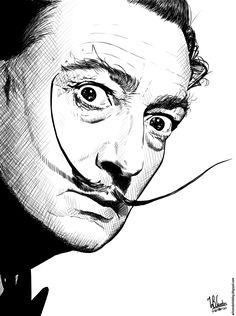 Salvador Dalí (Ink drawing) - Wilson's Sketch Blog