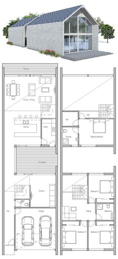 Very Narrow House. Small private courtyard. Master suite is completely separate from the other bedrooms. Floor Plan from ConceptHome.com