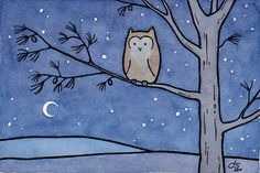 Owl Illustration Print - Moon and Pine Tree